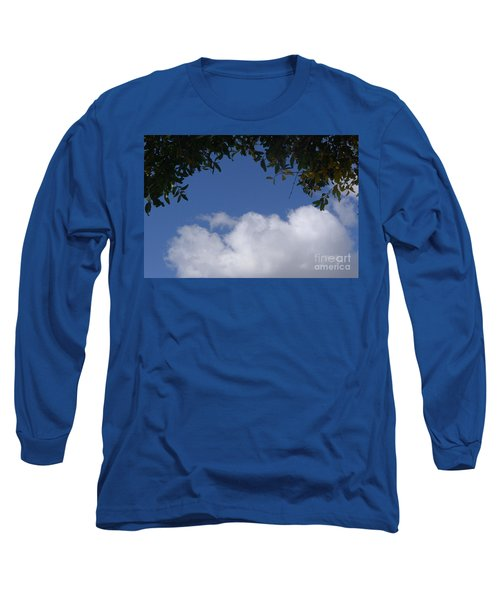 Clouds Framed By Tree Long Sleeve T-Shirt by Nora Boghossian