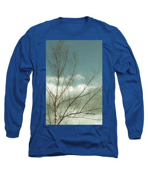 Long Sleeve T-Shirt featuring the photograph Cloudy Blue Sky Through Tree Top No 1 by Ben and Raisa Gertsberg