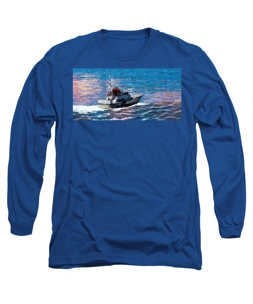 Blue Long Sleeve T-Shirt featuring the photograph Coast Guard Out To Sea by Aaron Berg