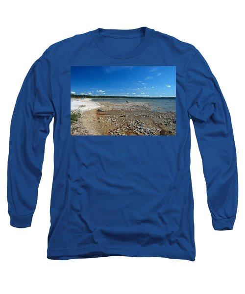 Coastline Of Lake Michigan  Near Petoskey State Park - Little Traverse Bay Long Sleeve T-Shirt by Janice Adomeit