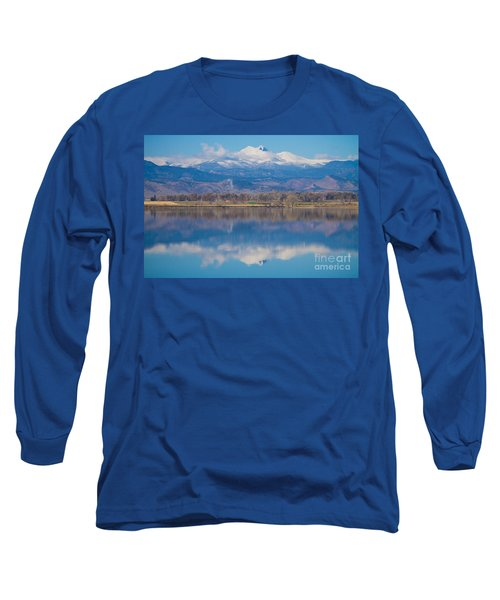 Colorado Longs Peak Circling Clouds Reflection Long Sleeve T-Shirt by James BO  Insogna