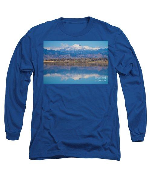 Colorado Longs Peak Circling Clouds Reflection Long Sleeve T-Shirt