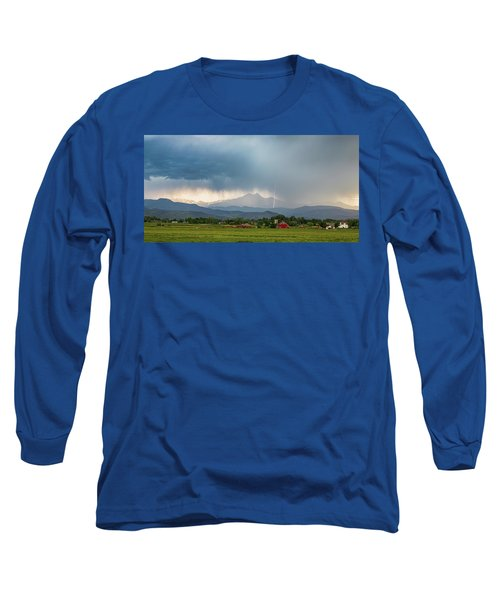Long Sleeve T-Shirt featuring the photograph Colorado Rocky Mountain Red Barn Country Storm by James BO Insogna