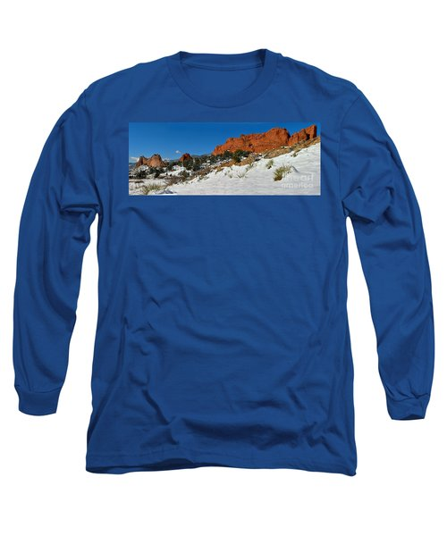 Long Sleeve T-Shirt featuring the photograph Colorado Winter Red Rock Garden by Adam Jewell
