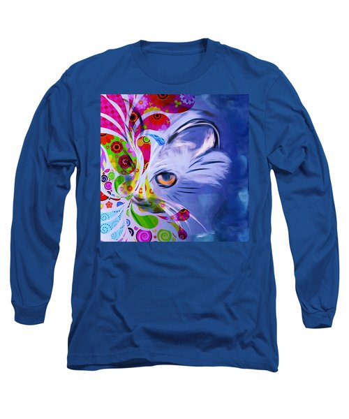 Long Sleeve T-Shirt featuring the mixed media Colorful Cat World by Gabriella Weninger - David