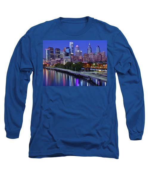 Long Sleeve T-Shirt featuring the photograph Colorful Philly Night Lights by Frozen in Time Fine Art Photography