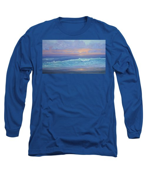 Cape Cod Colorful Sunset Seascape Beach Painting With Wave Long Sleeve T-Shirt