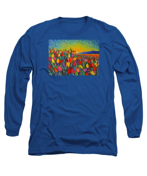 Colorful Tulips Field Sunrise - Abstract Impressionist Palette Knife Painting By Ana Maria Edulescu Long Sleeve T-Shirt by Ana Maria Edulescu