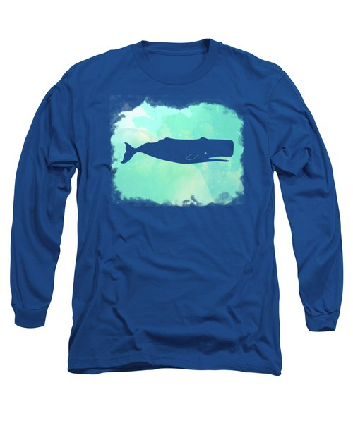 Colorful Watercolor Sperm Whale Sea Life Coastal Art Long Sleeve T-Shirt