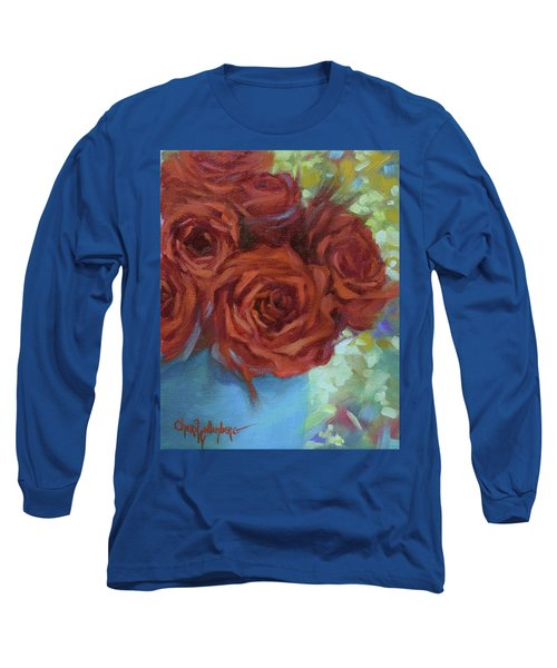 Contemporary Red Roses With Confetti Background Long Sleeve T-Shirt
