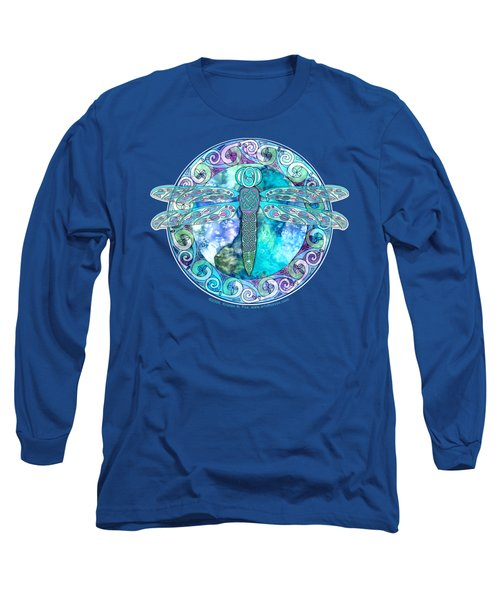 Long Sleeve T-Shirt featuring the mixed media Cool Celtic Dragonfly by Kristen Fox