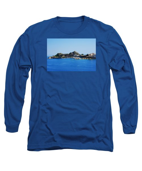 Long Sleeve T-Shirt featuring the photograph Corfu Fortress On Blue Water by Robert Moss
