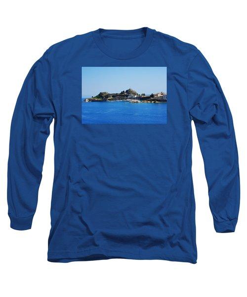 Corfu Fortress On Blue Water Long Sleeve T-Shirt