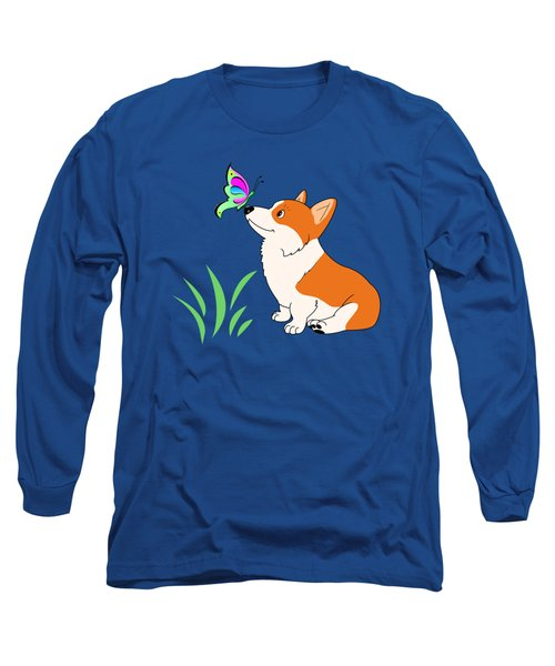 Long Sleeve T-Shirt featuring the drawing Corgi With Butterfly T-shirt by Kathy Kelly