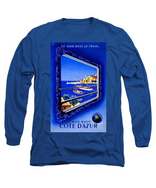 Cote D'azur Vintage Poster Restored Long Sleeve T-Shirt