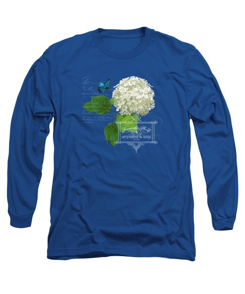 Cottage Garden White Hydrangea With Blue Butterfly Long Sleeve T-Shirt