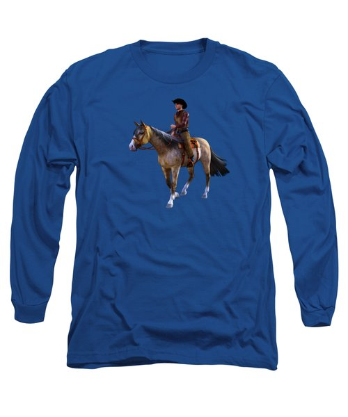 Long Sleeve T-Shirt featuring the digital art Cowboy Blue by Methune Hively
