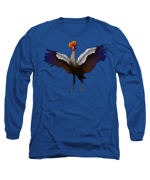 Crowned Crane Long Sleeve T-Shirt by Dusty Conley