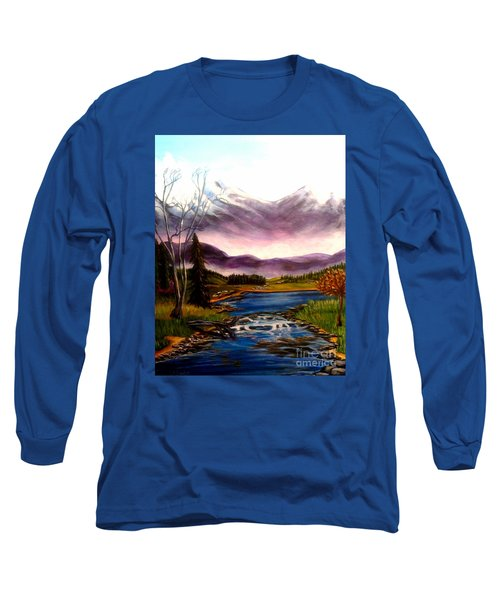Crystal Lake With Snow Capped Mountains Long Sleeve T-Shirt by Kimberlee Baxter