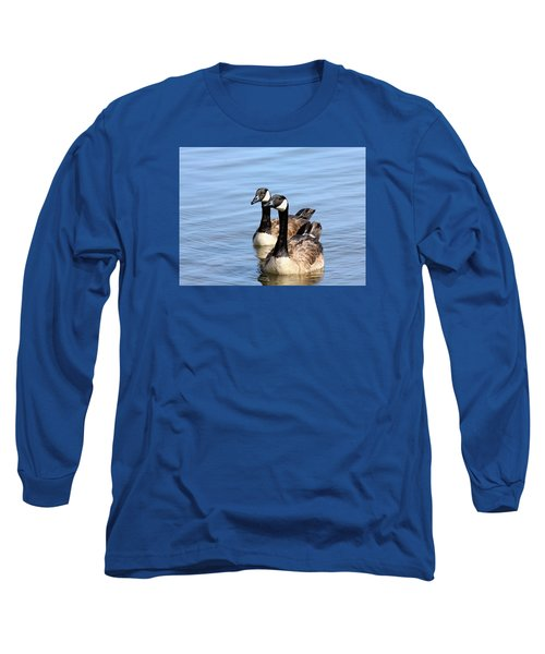 Long Sleeve T-Shirt featuring the photograph Curious Canda Geese by Sheila Brown