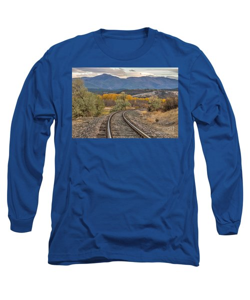 Long Sleeve T-Shirt featuring the photograph Curve In The Tracks In Autumn by Sue Smith