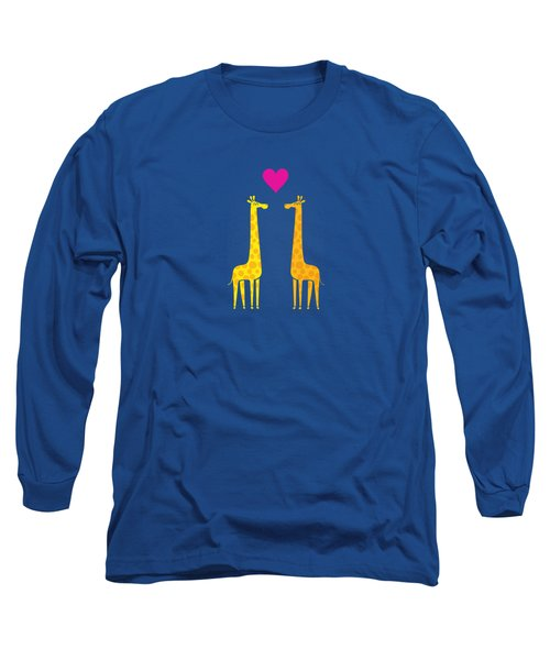 Cute Cartoon Giraffe Couple In Love Purple Edition Long Sleeve T-Shirt by Philipp Rietz