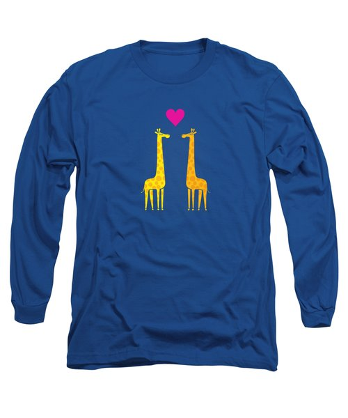 Cute Cartoon Giraffe Couple In Love Purple Edition Long Sleeve T-Shirt