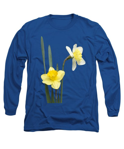 Long Sleeve T-Shirt featuring the photograph Daffodil Pair - Transparent by Nikolyn McDonald