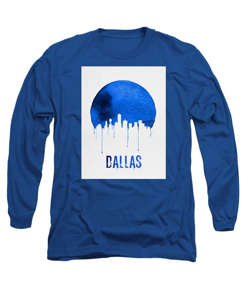 Dallas Skyline Blue Long Sleeve T-Shirt by Naxart Studio