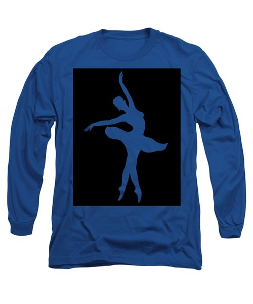 Dancing Ballerina White Silhouette Long Sleeve T-Shirt
