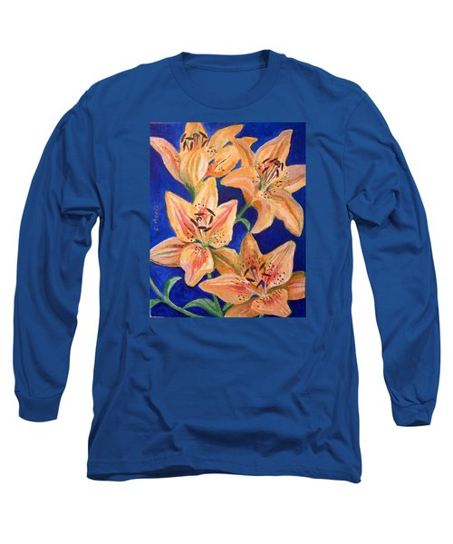Long Sleeve T-Shirt featuring the painting Day Lilies by Laura Aceto