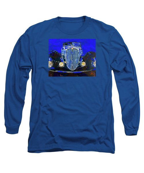 Long Sleeve T-Shirt featuring the painting Delahaye Vintage Car Blue by Walter Fahmy