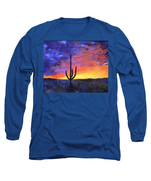 Long Sleeve T-Shirt featuring the painting Desert Sunset 4 by M Diane Bonaparte