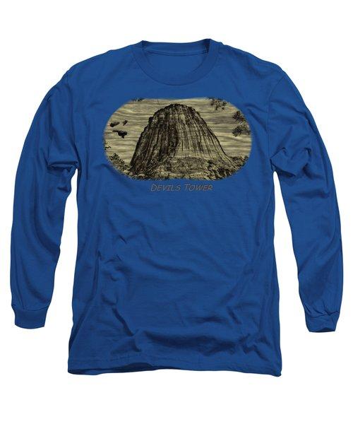 Devils Tower Woodburning 2 Long Sleeve T-Shirt