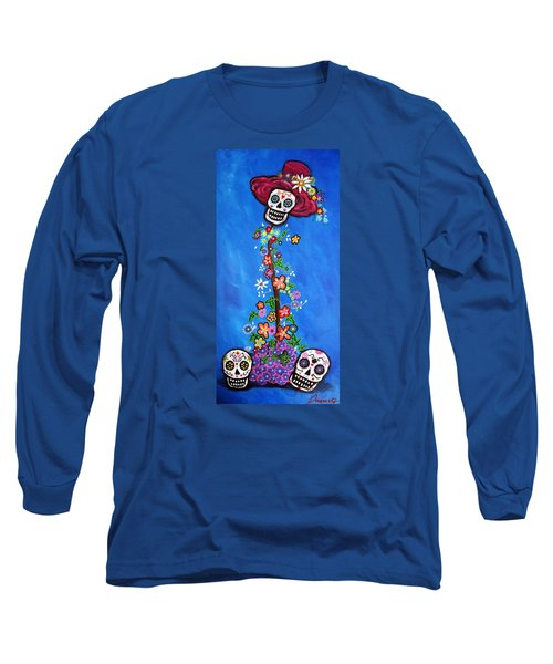 Long Sleeve T-Shirt featuring the painting Dia De Los Muertos by Pristine Cartera Turkus