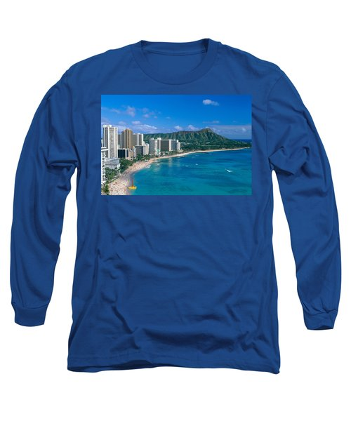 Diamond Head And Waikiki Long Sleeve T-Shirt by William Waterfall - Printscapes