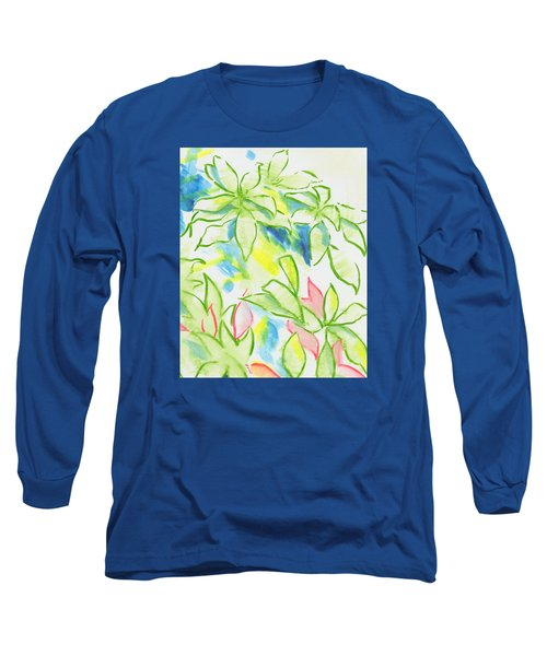 Different Coloured Hydrangea Leaves - Green Red Yellow Long Sleeve T-Shirt