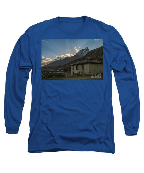 Long Sleeve T-Shirt featuring the photograph Dingboche Nepal Sunrays by Mike Reid