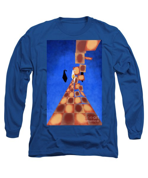 Disrupted Egg Path On Blue Long Sleeve T-Shirt