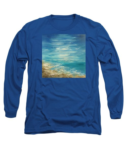 Long Sleeve T-Shirt featuring the painting Distant Deluge by Tatiana Iliina