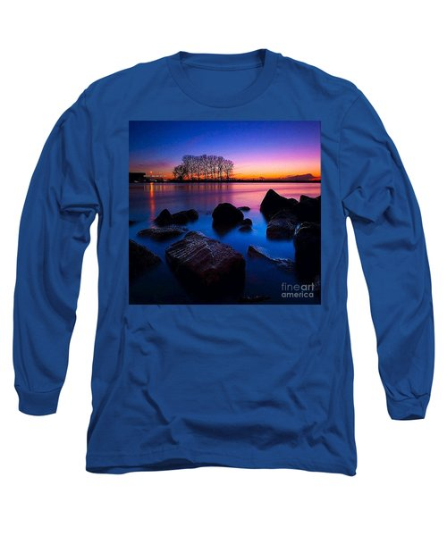 Distant Shores At Night Long Sleeve T-Shirt by Rod Jellison