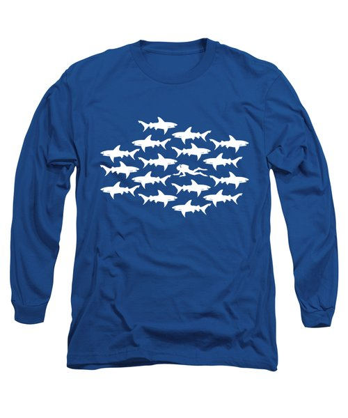 Diver Swimming With Sharks Long Sleeve T-Shirt by Antique Images