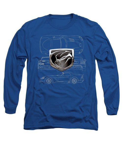 Dodge Viper  3 D  Badge Over Dodge Viper S R T 10 Blueprint  Long Sleeve T-Shirt
