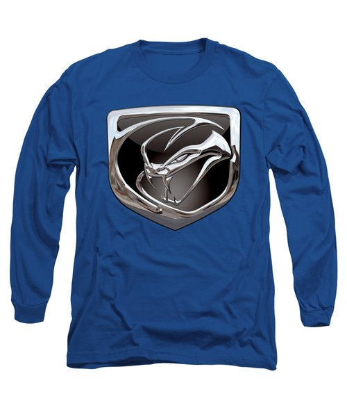 Dodge Viper 3 D  Badge Special Edition On Blue Long Sleeve T-Shirt by Serge Averbukh