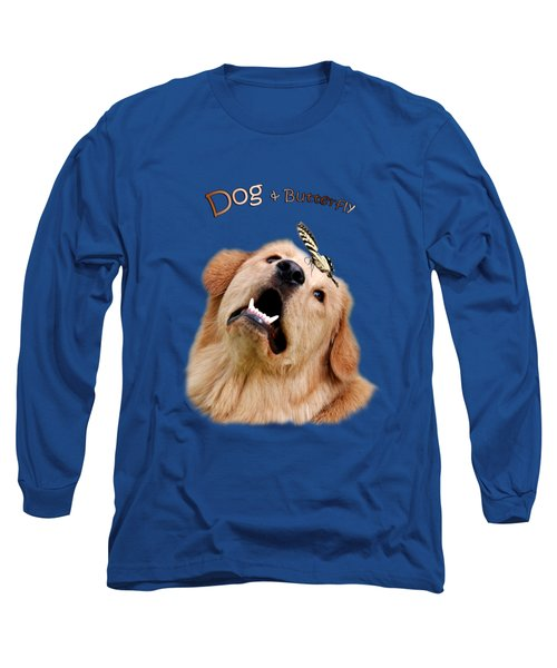 Dog And Butterfly Long Sleeve T-Shirt by Christina Rollo