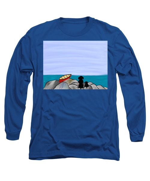 Long Sleeve T-Shirt featuring the digital art Dogs At Beach by Paula Brown