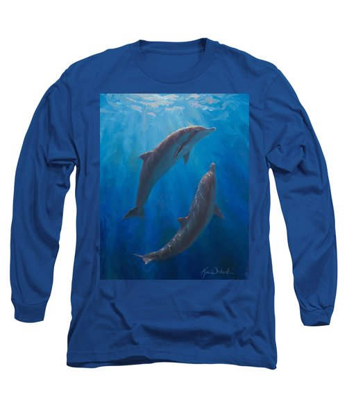 Long Sleeve T-Shirt featuring the painting Dolphin Dance - Underwater Whales by Karen Whitworth