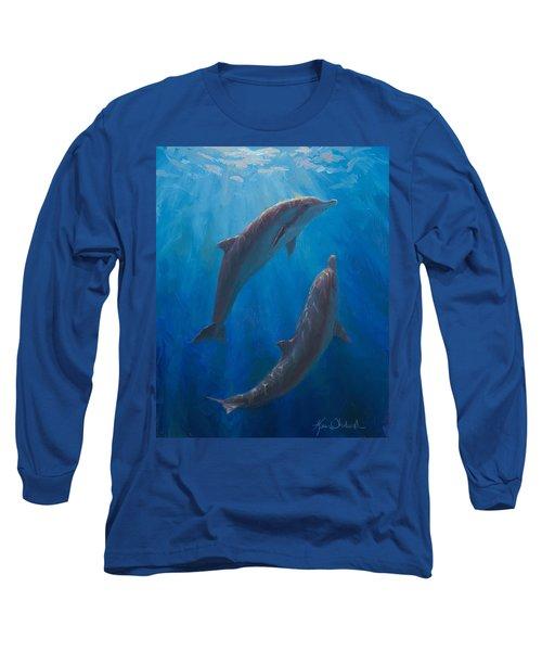 Dolphin Dance - Underwater Whales - Ocean Art - Coastal Decor Long Sleeve T-Shirt
