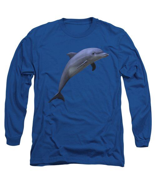 Dolphin In Ocean Blue Long Sleeve T-Shirt by Movie Poster Prints