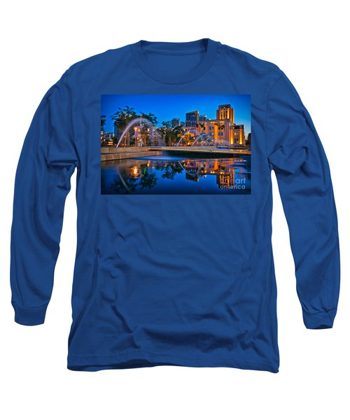Downtown San Diego Waterfront Park Long Sleeve T-Shirt by Sam Antonio Photography